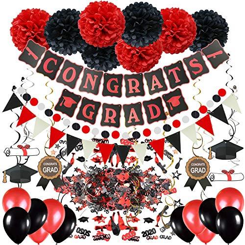 Zerodeco Abschlussdekorationen, Schwarz und Rot Congrats Grad Banner mit Seidenpapier Pom Poms Dreieckige Wimpel Girlande Spiralen Dekoration Abschluss Konfetti und Luftballon