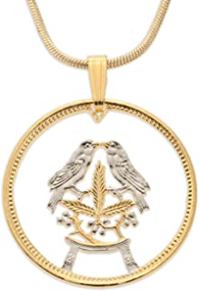 Love Birds Pendant & Necklace, South Africa One Half Cent Hand Cut