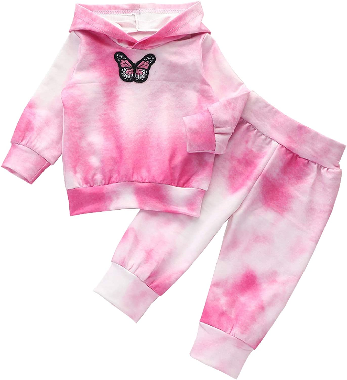 Girls Pink Embriodered Butterfly Top with Ruffle Collar and Legging Set