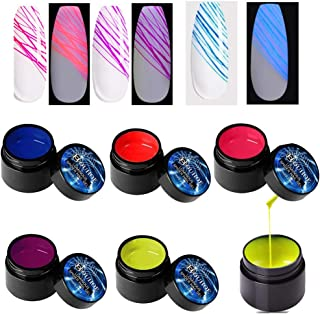 7ml 5 colores Spider Gel Neon Fluorescente Esmalte de uñas Barniz Rainbow Luminous Nail Art Soak Off Gel UV para pintura d...