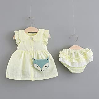 TZOU Girl Children Kids Cotton Lapel Sleeveless Dress with Lovely Small Underwear Two Piece Suit Outfit Yellow 70cm