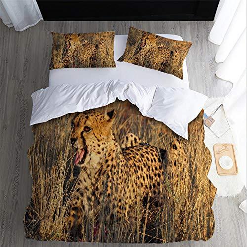 DJDSBJ 3D Leopard/Cheetah print duvet cover (king) bedding set with 2 pillowcases,3piece soft polyester-cotton duvet cover with zipper closure,240x220cm