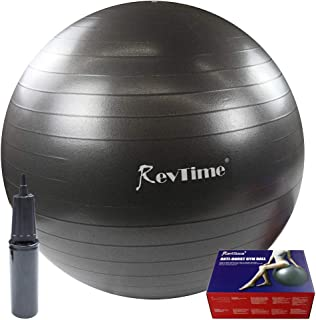 RevTime Ultra Thick Anti-Burst Gym Ball 65 cm with Air Pump Exercise Ball Great for Yoga,  Balance,  Fitness,  Desk Chairs,  Dark Gray
