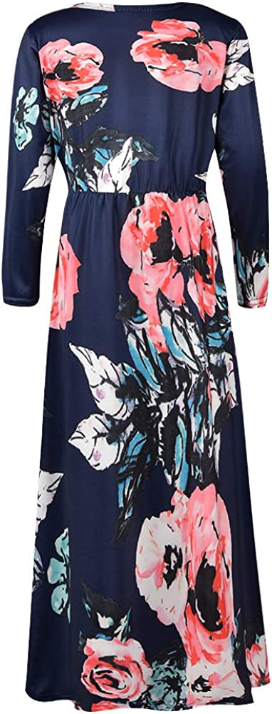 Dongpai Girls 3/4 Sleeve Floral Maxi Dress Pleated Casual Swing Long Maxi Holiday Dress with Pockets