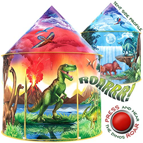 W&O Dinosaur Discovery Kids Tent with Roar Button, an Extraordinary Dinosaur Tent, Pop Up Tent for Kids, Dinosaur Toys for Kids Girls & Boys, Kids Play Tent, Outdoor and Indoor Tents for Kids