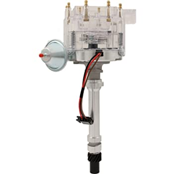 Proform 141-683 Adjustable Vacuum Advance HEI Distributor with Steel Gear and Red Cap for Chevy V8