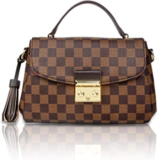 Gerosse Checkered Shoulder Bags,Designer Purses PU Leather Crossbody Bags Fashion Handbags for Women