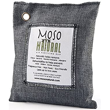 Moso Natural Air Purifying Bag. Odor Eliminator for Cars, Closets, Bathrooms and Pet Areas. Captures and Eliminates Odors.(Charcoal, 200 gm)