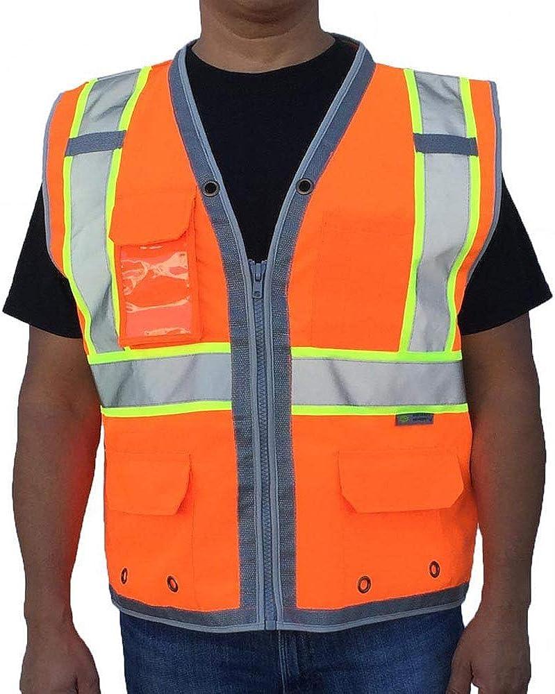 3C Products SV2800, ANSI/ISEA Class 2, Surveyor Safety Vest, Reflective w/Yellow Binding, 9 Pockets (iPAD), Neon Orange