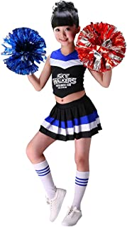 Cheerleader Costume Child Cheer Costume Outfit Carnival Party Halloween Cosplay with Pom poms for Sports Girls Boys