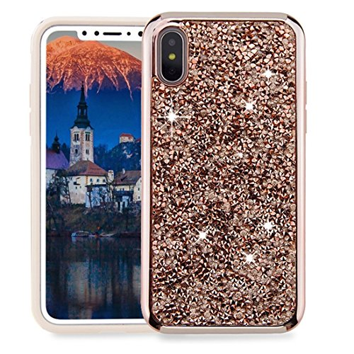 KIOKIOIPO-N Mode for iPhone X Diamond Series Galvanotechnik PC TPU-Schutzhülle (Color : Champagne Gold)
