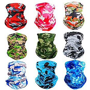 Corona Virus protection products [9 Pack] Summer UV Protection Face Mask Neck Gaiter Bandana Breathable Headwrap Cooling Face Cover for Outdoor use…