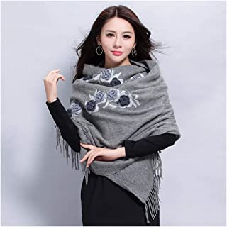 RONGJINGZHU Shawl Scarf Dual-use Thick Warm Long Embroidered Ladies Big Scarf Autumn and Winter Wild Red (Color : Gray)