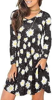 Women's Floral Print Pockets T-Shirt Dress V-Neck Loose Long Sleeve Casual Dresses