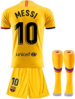 Tbcnjersey #10 Messi Shirt for Kids/Youth Barcelona Away Soccer T Shirt with Shorts and Socks 3PCS