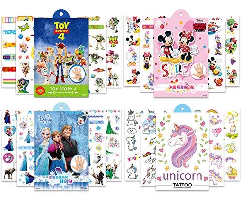 Babioms 400Pcs Animados Tatuaje Falso Pegatinas, para Niños Infantiles Fiesta de Cumpleaños Regalo Bolsas Relleno,Falso Pegatinas Dibujos Animados ( Mickey Minnie, Unicornio )