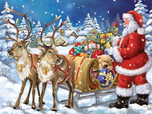 Fipart DIY Peinture Diamant Point de Croix kit d'artisanat ,Salon Stickers muraux décor à la Maison(14X18lnch/35X45CM),Père Noël