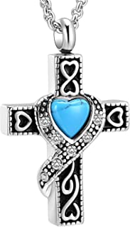 Cremation Jewelry Urn Necklaces for Ashes, Retro Crystal Cross Memorial Pendant Made of 316L Stainless Steel with Heart Shape Turquoise.