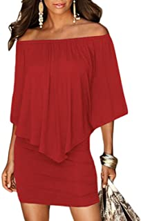 FREE Shipping on eligible orders. Best Seller in Traditional   Cultural Pan-European  Wear · Sidefeel Women Off Shoulder Ruffles Bodycon Mini Dress eb2edc369dcd