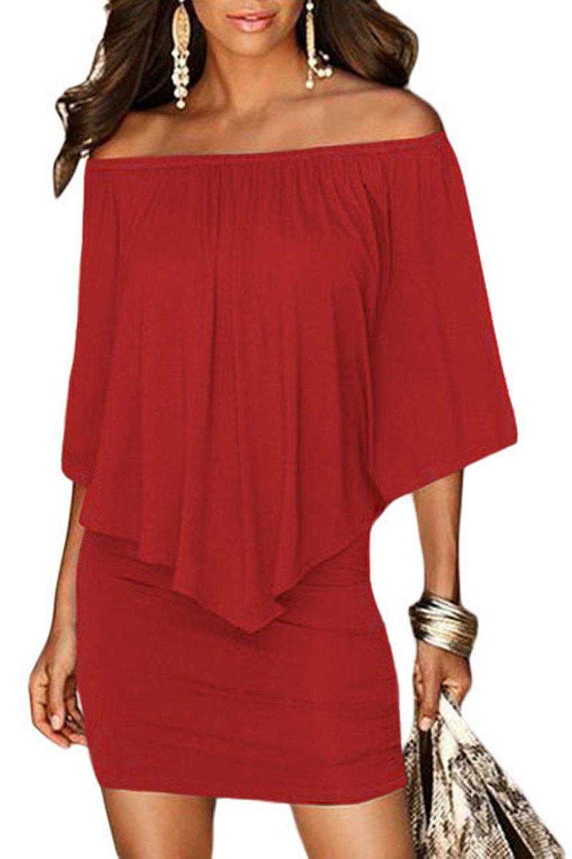 Red Dress - Women's Business Retro Ruffles Slim Cocktail Pencil Dress