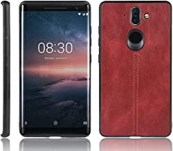 For Nokia 8 Sirocco Shockproof Sewing Cow Pattern Skin PC + PU + TPU Case New (Black) Shaoy (Color : Red)