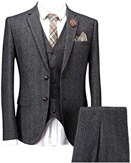 Solid Charcoal Classic Vintage Tweed Herringbone Wool Blend Tailored Men Suit 3 Pieces