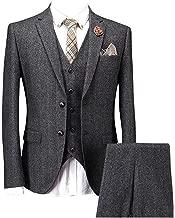 grey herringbone 3 piece suit