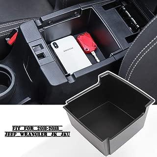Savadicar JK Center Console Insert Organizer Storage Tray for 2011-2018 Jeep Wrangler JK JKU, Armrest Box Secondary Storage, Black