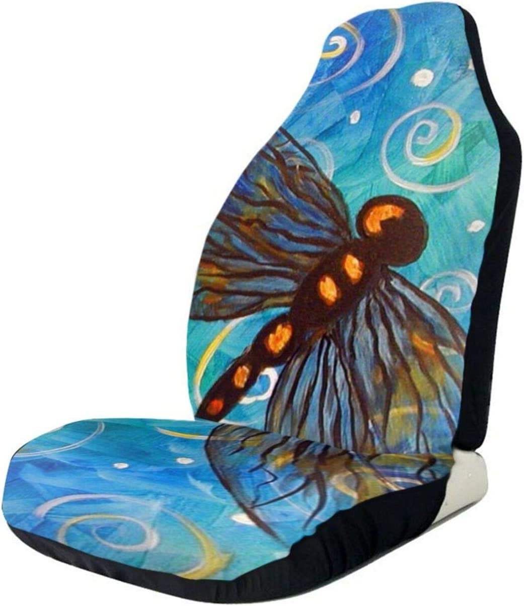 Dragonfly Oil Painting Peace Sign Car Vehi Limited Boston Mall time sale for Seat Front Covers