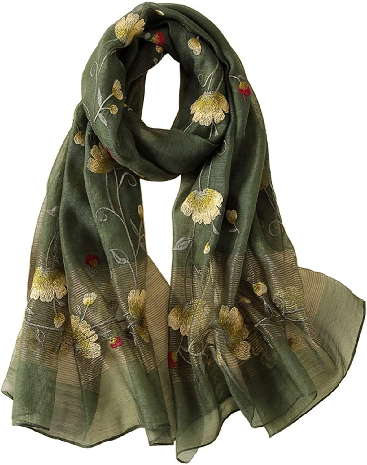 Alysee Women Warm Exquisite Silk&Wool Mixed Embroidered Scarf Headwrap Shawl