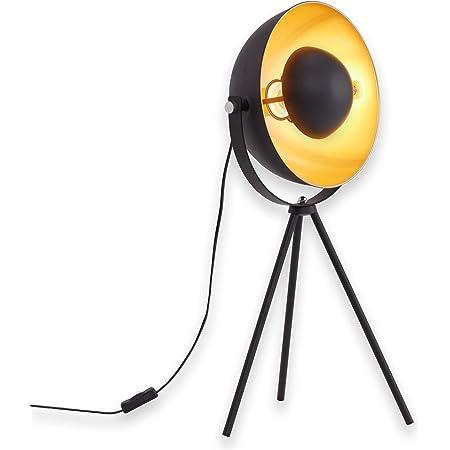 Briloner Leuchten 7380-015 Lampe de table trépied vintage - style projecteur de cinéma - abat-jour métal noir mat & or - douille E27 - 60 W max. - Ø 28 cm