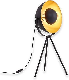 Briloner Leuchten 7380-015 Lampe de table trépied vintage - style projecteur de cinéma - abat-jour métal noir mat & or - d...
