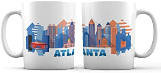 Atlanta City Iconic View Art Ceramic Coffee Mug - 11 oz. - Awesome New Design Colorful Decorative Souvenirs Gifts Cup for Travelers, Tourists, Men and Women