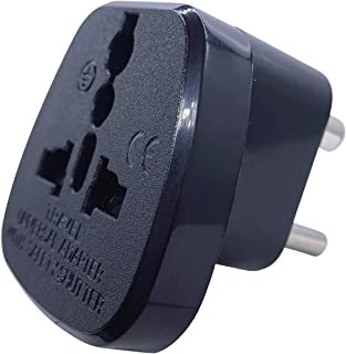 Type D Round Pins Travel Plug Adapter with Ground and Safety Shutter, UAE/EU/DE/US/JP/CN/UK Plug Suitable for India/Nepal/...
