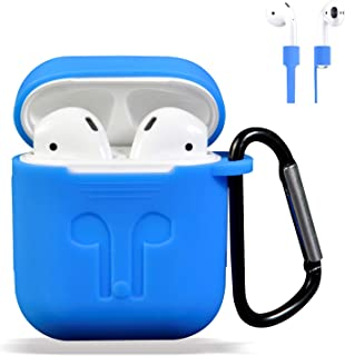 AirPods Case Cover, Silicone Protective Case and Skin for AirPods Charging Case with AirPods Anti-Lost Strap/AirPods Hooks, [Buy 1 Get 5 Accessories] (Blue)