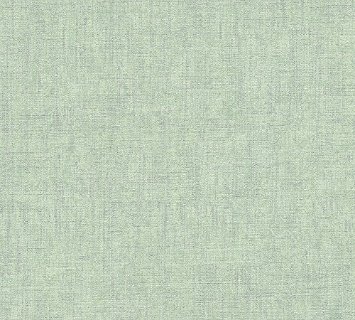 A.S. Création Vliestapete Borneo Tapete Unitapete Vintage Optik 10,05 m x 0,53 m grün metallic Made in Germany 322619 32261-9