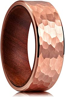 King Will 8mm Tungsten Carbide Ring Inner Hole Inlaid Wood Hammered Texture Flat Style Black/Rose Gold/Metal