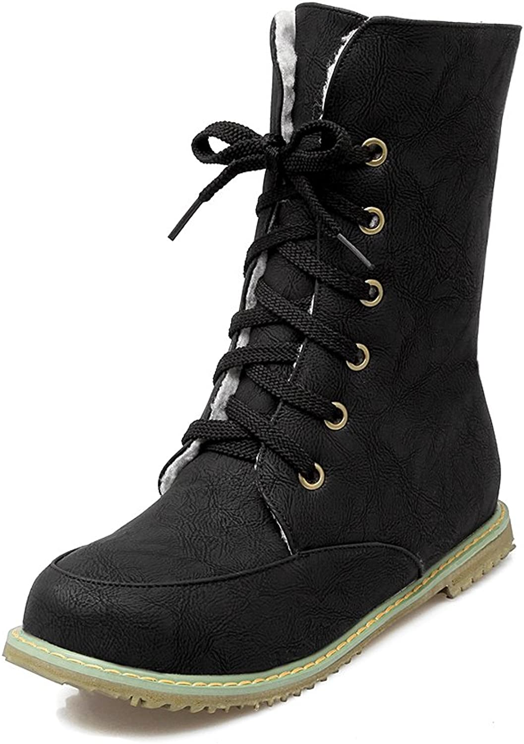 AIWEIYi Womens Flat shoes Warm Fur Lining Lace up Motorcycle Martin Boots Snow Boots Black