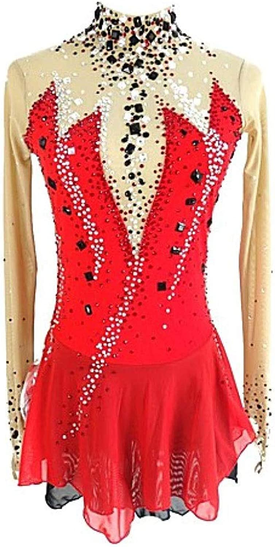 フィギュアスケートドレス、女性の女の子の赤オープンバックスパンデックスマイクロ弾性プロフェッショナルコンペティションスケートウェア手作りスパンコールロングスリーブアイススケートドレス (Color : 赤, Size : Child6)
