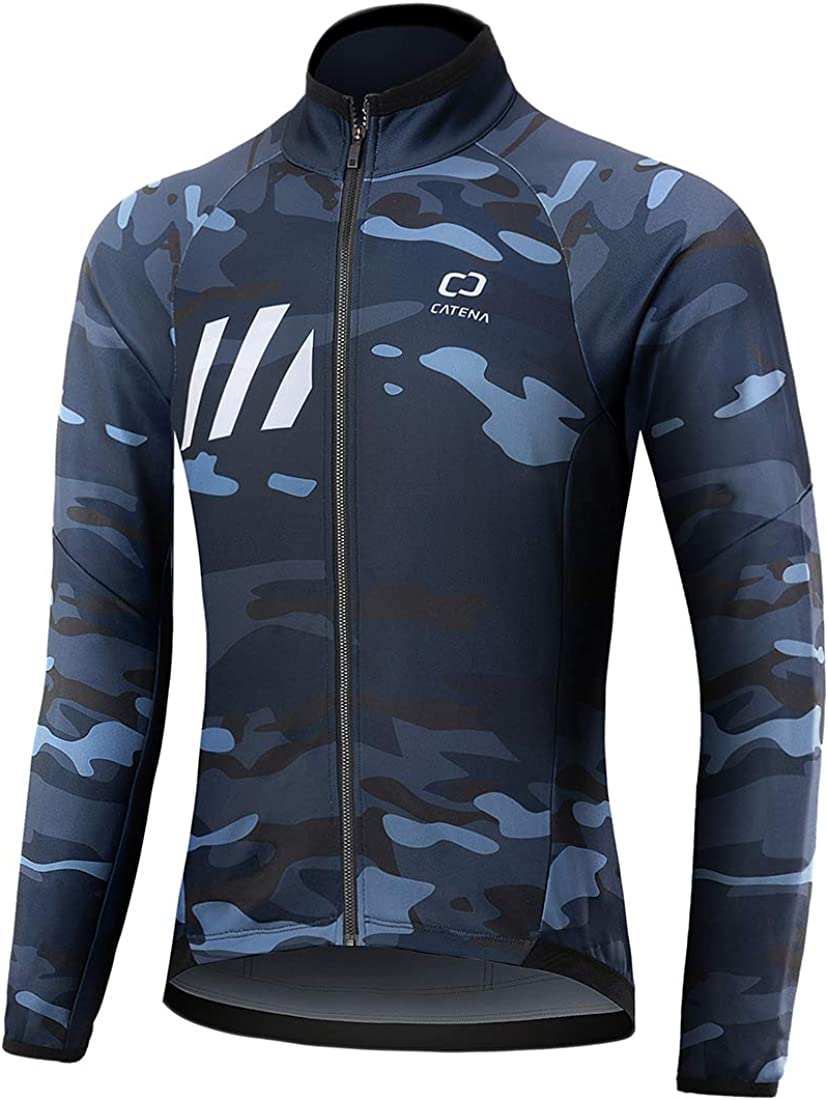 CATENA Men's Winter Cycling Jacket Windproof Waterproof Softshell Thermal Fleece Breathable Bike Jersey for Outdoors, Cycling