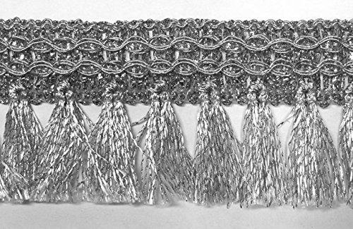 16,40m Fransen-Borte 4cm breit Farbe: Lurex-Silber TSL-AA360-7-silber