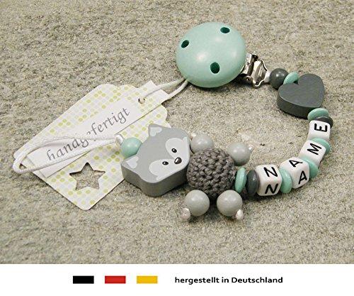 Baby SCHNULLERKETTE mit NAMEN - Schnullerhalter mit Wunschnamen - Mädchen Jungen Motiv Fuchs und Herz in mint, grau