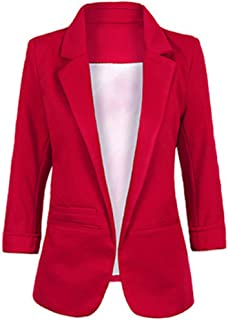 Women's Fashion Casual Rolled Up 3/4 Sleeve Slim Office Blazer Jacket Suits