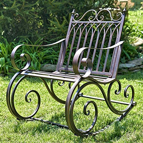 Best Outdoor Metal Rocking Arm Chair/Bench (Arm Chair, Bronze)