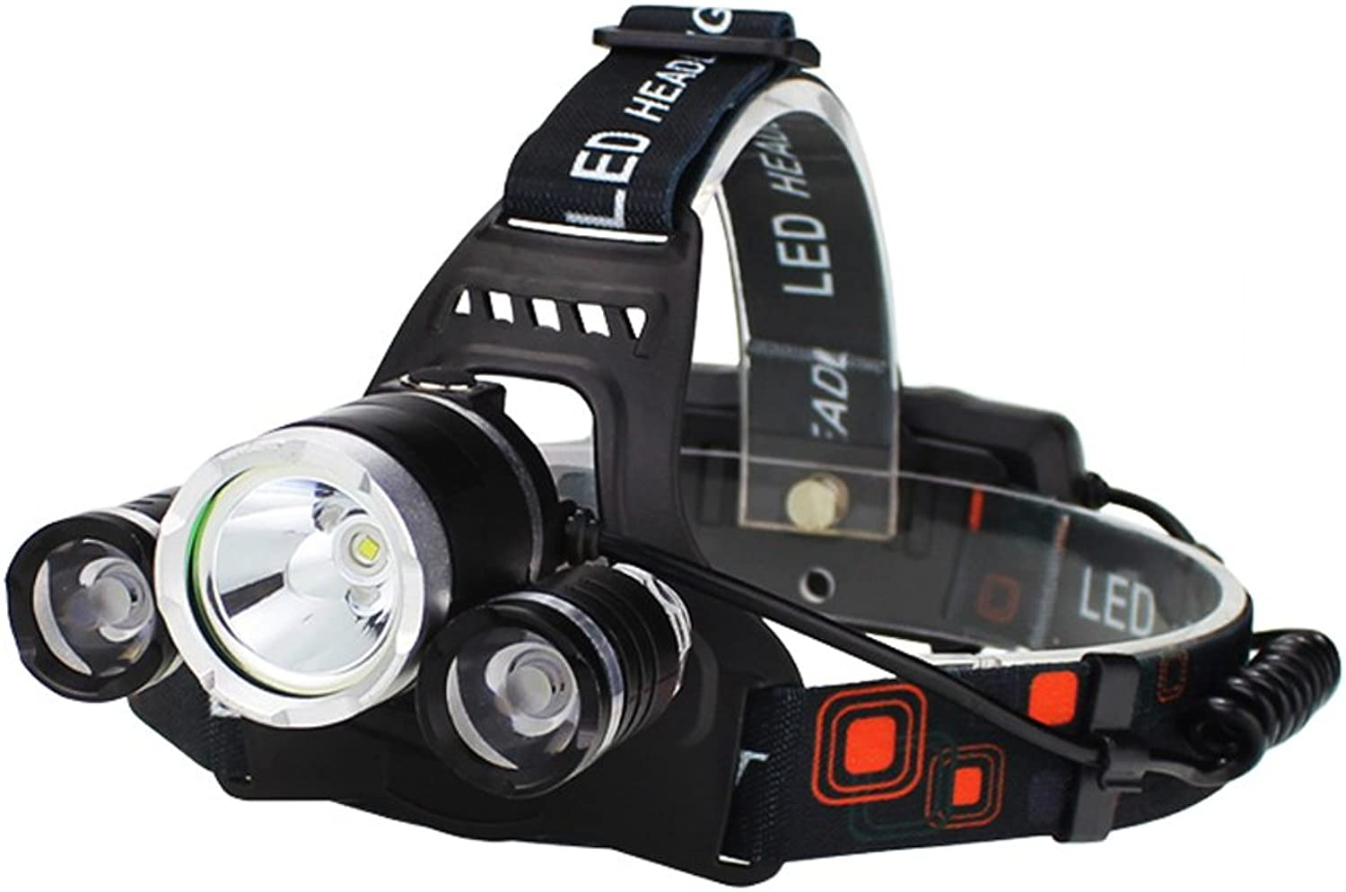M-zmsdt Super Bright LED Head Torch, Rechargeable Waterproof Focus Headlight, Headlamp Flashlight Torch for Camping Running Walking Cycling Outdoors Light