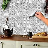 24 stück hellgrau Fliesenaufkleber für Küche und Bad verschiedene Mosaik wandfliesen aufkleber für 15x15cm Fliesen Marokkanisch Spanisch Viktorianisch Türkisch (15x15cm - 24 stück)