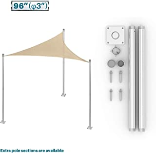 Coarbor Sun Shade Sail Canopy Support Stand Pole Kit for Awning Installation 8' feet (96'') Inch High Free Standing Post Replacement Pole Fence Post Rigid Heavy Duty Steel