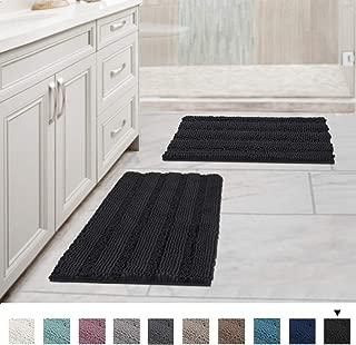 Original Shag Chenille Bath Rug for Bathroom Non Slip Ultra Thick and Soft Plush Striped Floor Mats Bath Rugs Set, Microfiber Door Mats for Kitchen (Pack 2-17