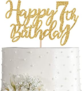 Gold Glitter Happy 7th birthday cake topper, Gold 7 years old birthday party decorations, girl or boy birthday cake toppers