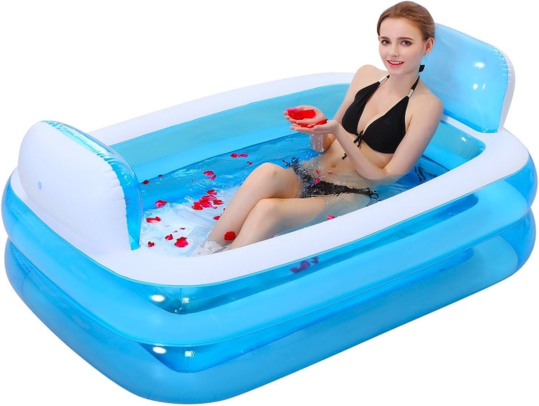 Bathtubs Soaking Baths Padded folding inflatable adult bluee tub plastic bath barrel (color   Foot pump, Size   152cm 59.8inch)